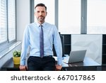 handsome middle aged... | Shutterstock . vector #667017865