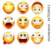smiley emoticon set. yellow... | Shutterstock .eps vector #667018411
