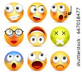 smiley emoticon set. yellow... | Shutterstock .eps vector #667018477