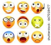 smiley emoticon set. yellow... | Shutterstock .eps vector #667018477