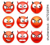Smiley Angry Devil Emoticon Set....
