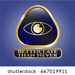gold shiny badge with eye icon ... | Shutterstock .eps vector #667019911