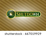 gold badge or emblem with eye... | Shutterstock .eps vector #667019929
