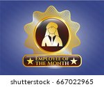 shiny badge with businesswoman ... | Shutterstock .eps vector #667022965