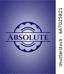 absolute badge with jean texture | Shutterstock .eps vector #667025821