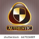 shiny badge with shield ... | Shutterstock .eps vector #667026889
