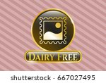 shiny badge with picture icon... | Shutterstock .eps vector #667027495