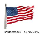 weathered american flag on a... | Shutterstock . vector #667029547