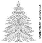 christmas tree  decorative... | Shutterstock .eps vector #667029865