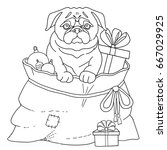 dog pug symbol 2018 new year.... | Shutterstock .eps vector #667029925