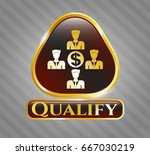 gold emblem with business... | Shutterstock .eps vector #667030219