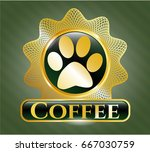 shiny badge with paw icon and... | Shutterstock .eps vector #667030759