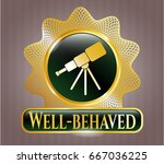 gold badge or emblem with... | Shutterstock .eps vector #667036225
