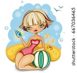 beautiful young blonde girl... | Shutterstock .eps vector #667036465