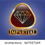 golden badge with diamond icon ... | Shutterstock .eps vector #667037269