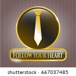 gold badge or emblem with... | Shutterstock .eps vector #667037485