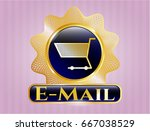 gold badge or emblem with... | Shutterstock .eps vector #667038529