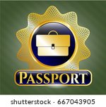 gold badge or emblem with... | Shutterstock .eps vector #667043905