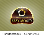 gold badge with recycle icon... | Shutterstock .eps vector #667043911