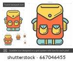 tourist backpack vector line...   Shutterstock .eps vector #667046455