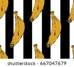 banana seamless pattern. vector ... | Shutterstock .eps vector #667047679