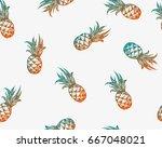pineapple seamless pattern.... | Shutterstock .eps vector #667048021