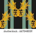hand drawn striped pineapple... | Shutterstock .eps vector #667048039