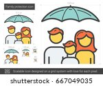 family protection vector line... | Shutterstock .eps vector #667049035