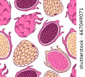 seamless nature pattern with... | Shutterstock .eps vector #667049071