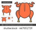 chicken grill vector line icon... | Shutterstock .eps vector #667051729