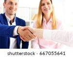 man in suit shake hand as hello ... | Shutterstock . vector #667055641