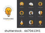 icons set with brain  light... | Shutterstock .eps vector #667061341