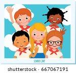 group of happy children in a... | Shutterstock .eps vector #667067191