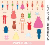paper doll and a set of... | Shutterstock .eps vector #667067194