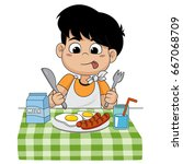 the child eats breakfast that... | Shutterstock .eps vector #667068709