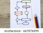 process flowchart  complete... | Shutterstock . vector #667076494