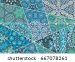 vector patchwork pattern.... | Shutterstock .eps vector #667078261