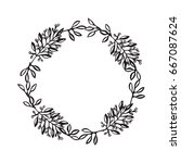 hand drawn wreath. floral... | Shutterstock .eps vector #667087624