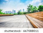 city park under blue sky with... | Shutterstock . vector #667088011
