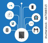 flat icons web cam  system unit ... | Shutterstock .eps vector #667088515