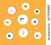 flat icons mitten  pipeline... | Shutterstock .eps vector #667090885