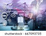 double exposure of businessman... | Shutterstock . vector #667093735