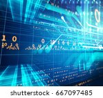 blue geometric abstract... | Shutterstock . vector #667097485