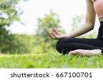 beautiful woman relax yoga in... | Shutterstock . vector #667100701