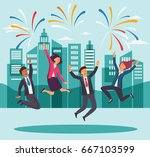 young  happy business people... | Shutterstock .eps vector #667103599