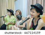 beautiful asian younger woman... | Shutterstock . vector #667114159