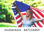 happy girl with an american... | Shutterstock . vector #667116664