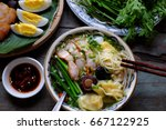 homemade vietnam food  egg... | Shutterstock . vector #667122925