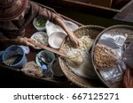 old woman making thai noodle... | Shutterstock . vector #667125271