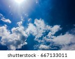 beautiful blue sky with clouds... | Shutterstock . vector #667133011